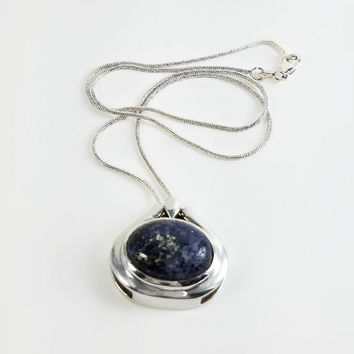"Blue Lapis Lazuli Pendant - Vintage Lapis Pendant Necklace - 17"" Sterling Natural Stone Pendant Necklace - Large Blue Stone Pendant"