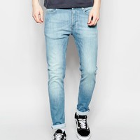 River Island Skinny Fit Jeans In Mid Wash Blue at asos.com
