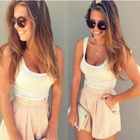 White Sleeveless Top with Double Pocket Shorts