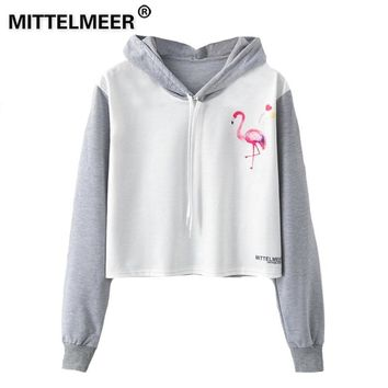 KPOP BTS Bangtan Boys Army MITTELMEER  Harajuku Hooded Sweatshirt Autumn Spring Woman girls student Cartoon Love flamingo unicorn printing Short Hoodies AT_89_10
