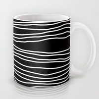 Black Coffee Mug  - Black and White Mug -  Ceramic Striped Coffee Cup - Black with White Stripes - 11 oz - 15oz - Made to Order