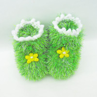 Handknitted Cute Baby Booties, Green Booties, Fluffy Booties,  UK Seller