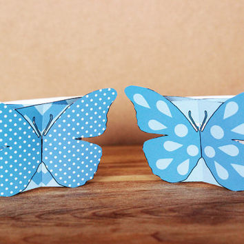 Printable 3D Patterned Butterfly Cupcake Wrapper and Topper Set – pastel and bright blue butterflies INSTANT DOWNLOAD