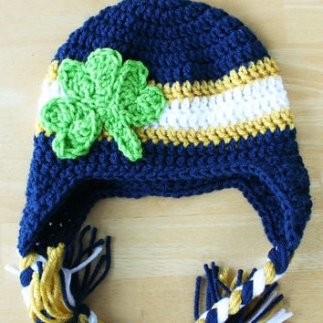 Crochet Baby Hat, Notre Dame Cap for baby, Notre Dame hat for baby, Shamrock hat, St. Patty's Day, Newborn to 12 Month Sizes available