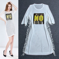 White Beaded Letter Print Tassled Sheer  Mini Dress