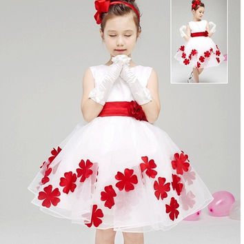 Sweet Baby Toddler Girls Kids Children Princess Sleeveless Flowers Knot Wedding Party Dress Tutu Outfit#331 = 1933110852