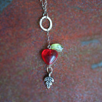 Free shipping - Fairytale Natural Swet Little Princess Apple Necklace with Heart Shaped Lobster Clasp
