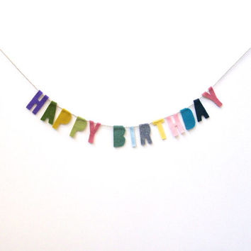 Funfetti Happy Birthday banner, petite funfetti party banner with purple, green, pink, blue, yellow felt