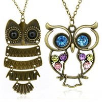 Vintage, Retro Colorful Crystal Owl Pendant and Long Chain Necklace with Antiqued Bronze/Brass Finish (2 Pcs: Design No.1 + No.2)