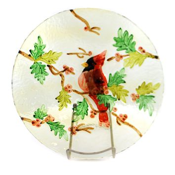 Tabletop Cardinal Round Fused Glass Plate Tabletop