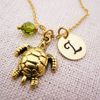 Turtle Charm - Gold Initial - Personalized Necklace