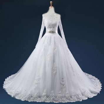 Ball Gown Off the Shoulder Wedding Dresses Lace Sequins Wedding Gowns Long Train Long Sleeves robe