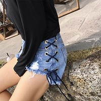 All-match Fashion Side Bandage Worn Ripped High Waist Denim Shorts Hot Pants Jeans