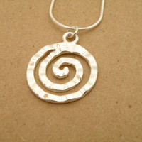 Sterling silver chain with spiral pendant. Tribal spiral ROUND SCREW silver plated pendant. True Detective spiral pendant. Gift idea.
