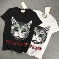 """Gucci"" Unisex Casual Fashion Sequin Letter Embroidery Cat Head Print Couple Short Sleeve T-shirt Top Tee"