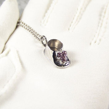 Vintage Baby Shoe Pink Crystal Pendant Charm Necklace Beau Sterling