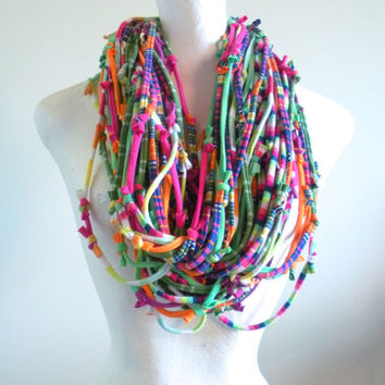 Chunky Infinity Scarf Eco Friendly Rainbow Brights Circus Big Top Knotty Bits