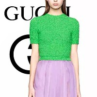 Gucci 2020 new spring and summer ladies round neck rib knit fashion short-sleeved cotton-knot fleece top Green