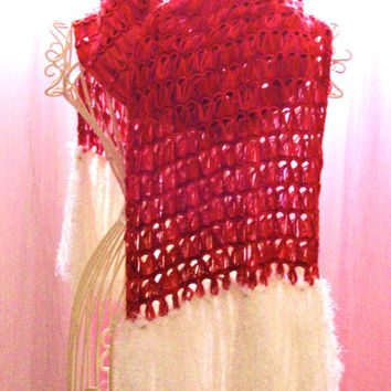 Crochet Silk Scarf - Broomstick Lace - Pink With White Fuzzy Trim - 100% Silk Yarn