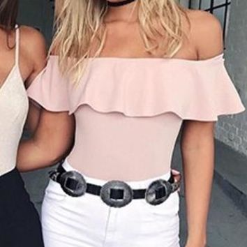 Ripple Effect Short Sleeve Ruffle Off The Shoulder Basic Bodysuit Top - 4 Colors Available