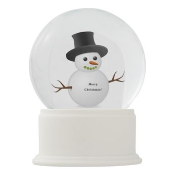 Happy Winter Snowman with text Merry Christmas! Snow Globe