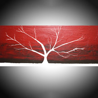"""ARTFINDER: Red Sky at Night tree of life painting in acrylic wall art color rainbow tree in wood  3 panel wall abstract canvas abstraction 48 x 20 """" by Stuart Wright - Red Sky at Night , crimson red impasto painting..."""
