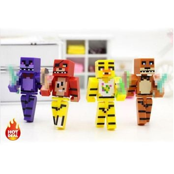 4pcs/set Minecraft Toys Set Five Night At  4  Foxy Chica Bonnie Freddy Action Figures Collection Toy For Children #H