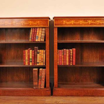 Canonbury - Pair Sheraton Walnut Low Open Front Bookcases