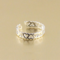Super cute hollow heart-shaped tail ring sterling silver rings
