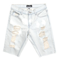 Embellish - Scaglietti Patchwork Biker Denim Shorts (Light Blue Wash)