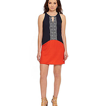 THML Embroidered Colorblock Dress - Navy