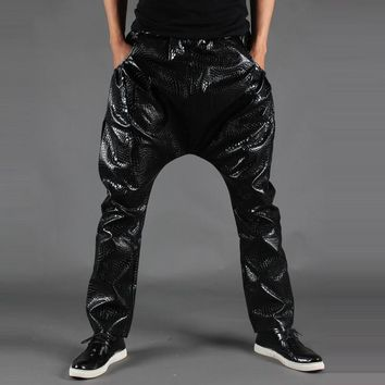 Fashion Mens Baggy Leather Harem Pants, Spring and autumn male PU leather pants punk low waist black Trousers