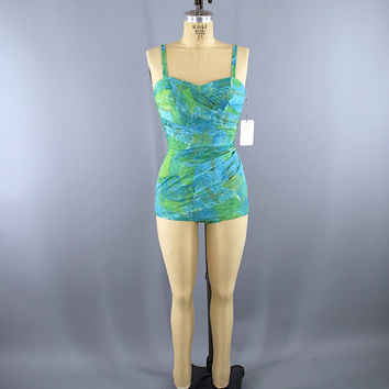 Vintage 1950s Catalina Swim Suit / Blue Green