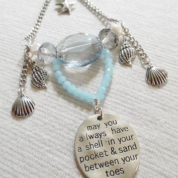 Beach Rear View Mirror Charm, Beachy Seashell Aquamarine, Crystal Car Charm, Crystal Sun Catcher, Crystal Ornament Rearview Mirror Accessory