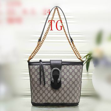 """Gucci"" Retro Fashion Double G Logo Print Single Shoulder Messenger Bag Metal Chain Personality Women Bag"