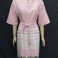 Baby pink colour soft light weight Turkish cotton kimono robe with pockets, bridesmaid robe with pocket, dressing gown, beach robe.