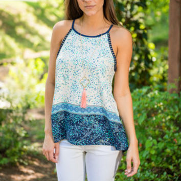 Warm Summer Nights Tank, Navy