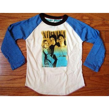 Rowdy Sprout Nirvana Vintage Inspired Kids Long Sleeve Raglan Shirt