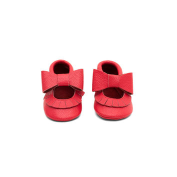 Mary Jane Leather Baby Moccasins Red