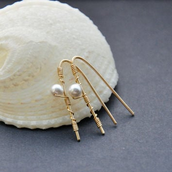 Gold Pearl Earrings, Small Gold Earring, Modern V Shape Wire Jewelry