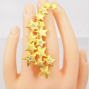 JJ Stars Spray Brooch, Jonette Jewelry, Gold Tone, Vintage Holiday Brooch
