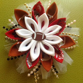 House divided Arkansas Razorback Texas Longhorn Kanzashi Flower hair bow accessory headband girls high fashion red black fabric beads orange
