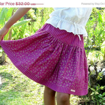 ON SALE Floral Print Mini Skirt in Magenta and Brown / Spring Fashion Skirt / Ready to Ship