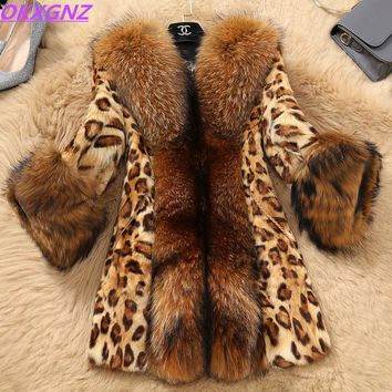 Boutique Women's Autumn Winter Faux fur Jackets Leopard Mink fur Coats Faux Raccoon Fur collar Plus size Fur jackets OKXGNZ 1256