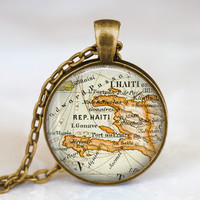 Haiti map necklace, Haiti caribbean country map pendant, haiti map necklace, map jewelry gift for men women , art pendant
