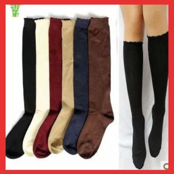 10PCS=5 apirs Vintage dot sweet knee-high   black princess  knit laciness female long  bamboo fibre polka dot leg warmers