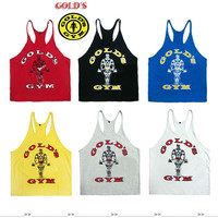 gym vest bodybuilding clothing and fitness men tank tops golds gym brand high quality 100% cotton undershirt