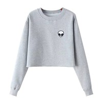 Chicnova Women Cute Alien Print Crop Top Cotton Long Sleeve Loose Casual T-shirt (One Size, Black)