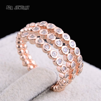 2016 Princess Style Women Wedding Rings Female Fashion Antique Rose Gold Plated Full CZ Diamond Rings Party Jewelry Anel