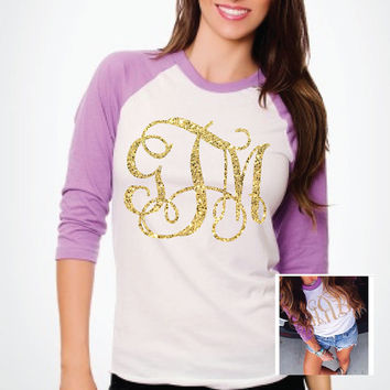 Orchid Baseball Tee w/Large Monogram  - Bride Gift / Holiday / Bridesmaids / Birthday / Beach Trip / Coverup / Casual GNO / Sorority Sister